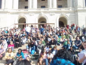 Education crowd on steps of MN State Capitol