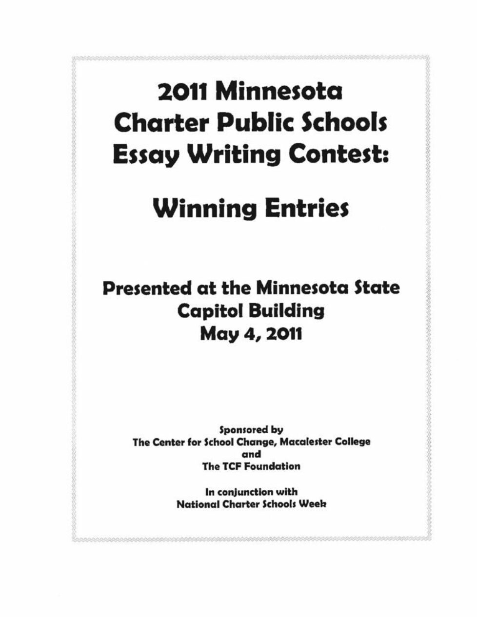 thumbnail of 2011 Winning Essays Booklet