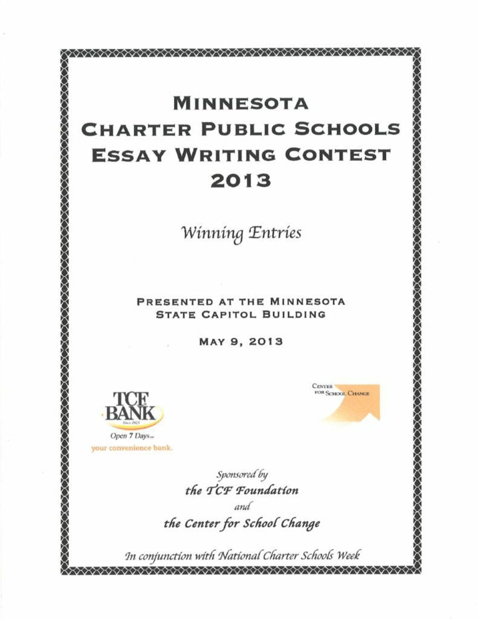 thumbnail of 2013 Charter Essay Contest Booklet