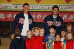 Minnesota Twins players Danny Valencia & Drew Butera visited the Lakes International Language Academy on the Twins Caravan tour this past winter (Photo submitted)