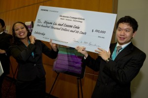 2011 National Team Grand Prize Award winners, Cassee Crain (left) and Ziyuan Liu (right). Courtesy of the Siemens Foundation.