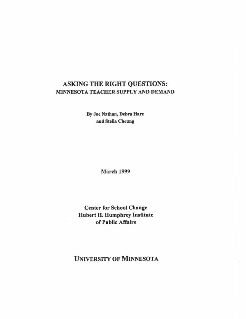 thumbnail of Asking The Right Questions- Minnesota Teacher Supply and Demand