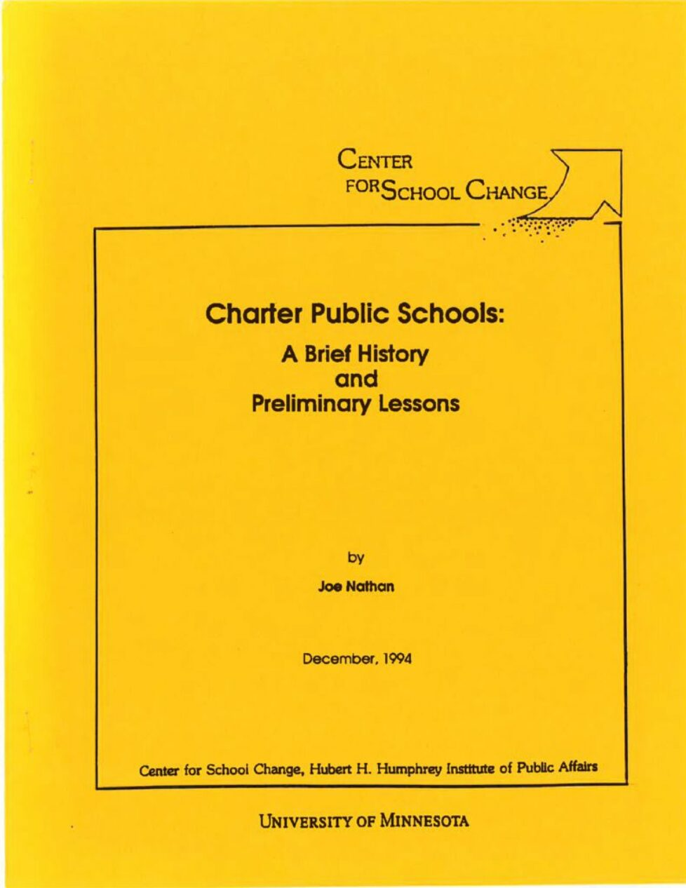 thumbnail of Charter Public Schools-A brief history and preliminary lessons