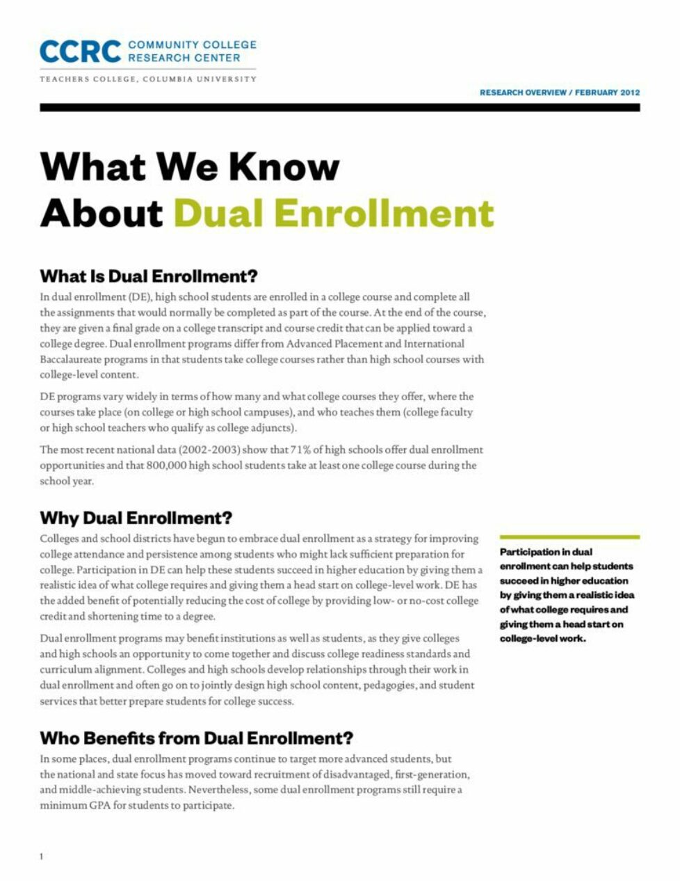 thumbnail of What We Know About Dual Enrollment: Research Overview
