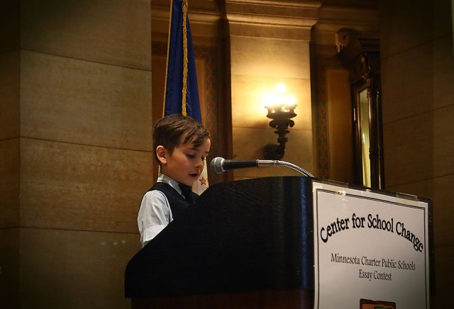 Grade 1 student Aiden Beresford from Cologne Academy bravely kicks off the event by reading his essay. Great job Aiden! photo: Wonderlovely Photography