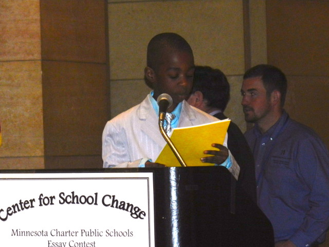 5th grader Donnell Bratoon Jr. from Concordia Creative Learning Academy reads his 2nd place essay.