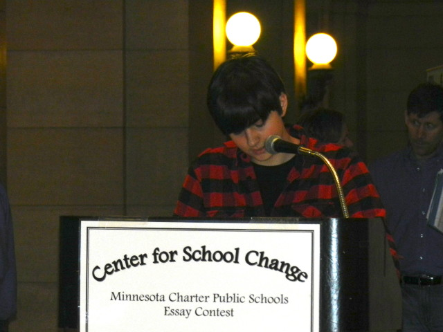 Carter Thorson, 10th grader from Spectrum High School reads his 9th-12th 2nd place essay.