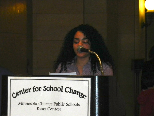 Denisse Sanchez reads her exceptional essay, which won 1st place in the 9th -12th group.  She is a 10th grader at MTS HIgh School.