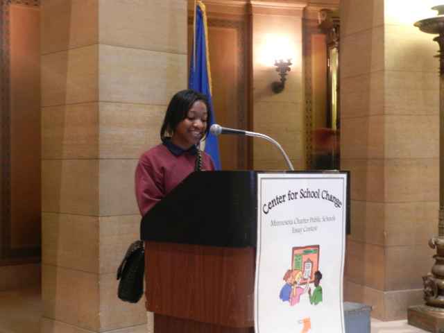 9th grader Nallah Muhammad from Minneapolis College Preparatory reads her 2nd place essay in the 9th-12th division.