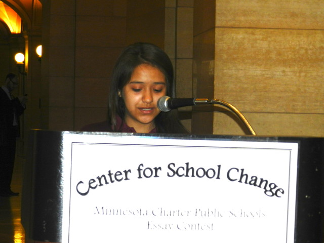 Cathy Perez-Ortiz reads her 2nd place essay.  She is a 6th grader at Academia Cesar Chavez.