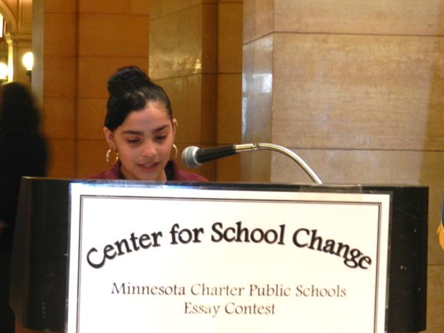 Sara Lizbeth Gutierrez, 6th grader at Academia Cesar Chavez, reads her essay.