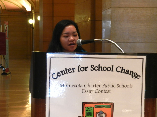 A senior at Community of Peace Academy, Ser Vang reads her 2nd place essay in the 9th-12th grade division.