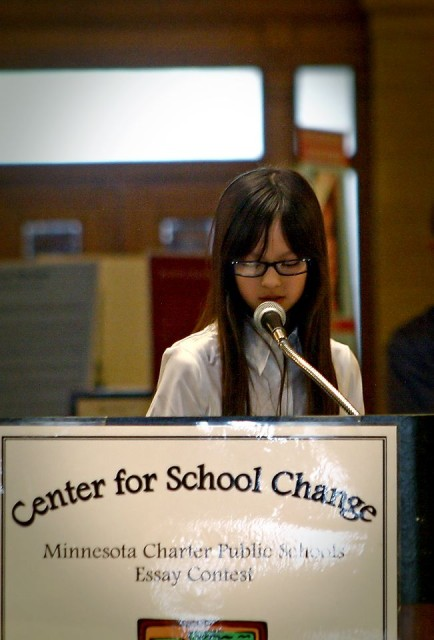 Maddie Moeller (5th grade, Cologne Academy) shares her essay. Photo: Wonderlovely Photography