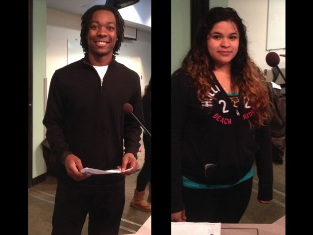 SPPS students Khalique Rogers and Jennifer Reyes Gomez at the St. Paul Board of Education meeting Tuesday October 15, 2013
