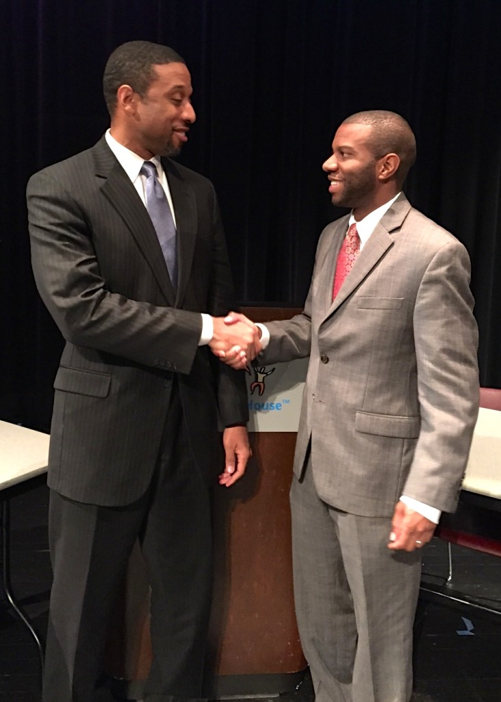 Brian K. Bridges, VP at UNCF (left) shakes hands with Dr. Ivory Toldson from the White House Initiative on HBCUs [photo courtesy of Sharon Smtih-Akinsanya of UNCF]