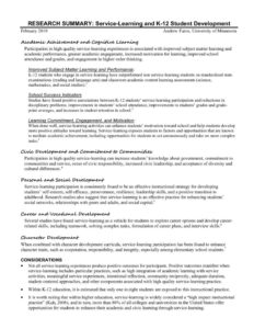 thumbnail of Furco Research K-12 Service-Learning Research Summary – Furco – February 2019