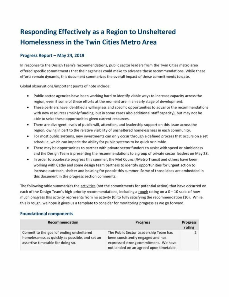 thumbnail of May 2019 Responding Effectively as a Region to Unsheltered Homelessness in the Twin Cities Metro Area_Progress report_May 2019 _for Design Team